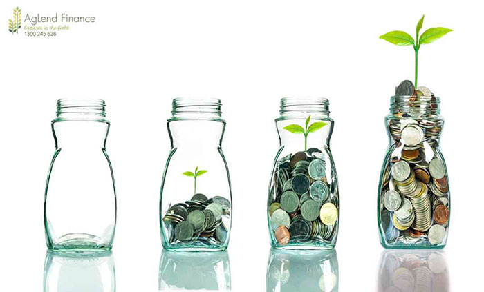 Mix coins and seed in clear blottle on white background,Business investment growth concept